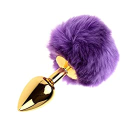 Utimi Stainless Steel Butt Plug Anal Plug with Rabbit\'s Tail in Purple