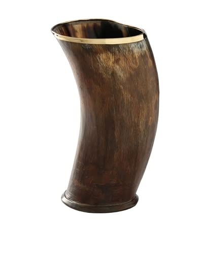 Foreign Affairs Buffalo Horn Vase with Copper Finish, Large