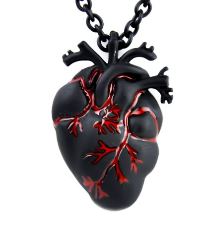 Black & Bloody Anatomical Heart Necklace