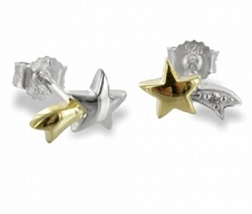 ASS 925 Real Silver Stud Earrings in Heart Design with Zirconia Stones in 2 colour gold