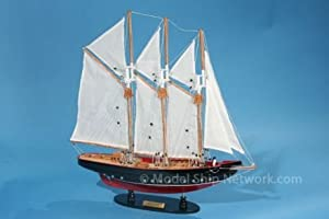 "Atlantic 24"" Model Sailboat - Already Built Not a Kit - Wooden Sail Boat Replica Model Sailing Yacht America's Cup Racer Nautical Home Beach Wall Décor or Gift"
