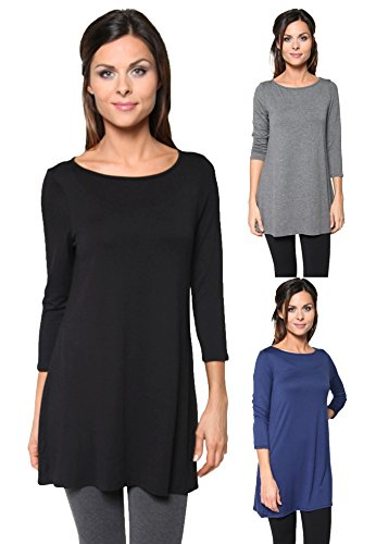 3 Pack: Plus Size Loose Fit Elbow Sleeve Tunics (Black, Charcoal, Navy), 3X