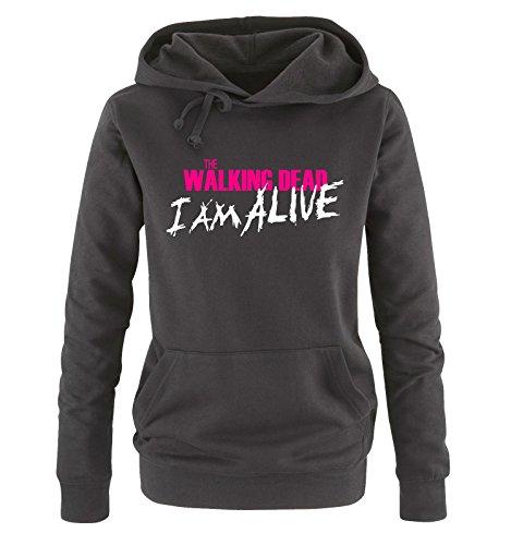 Comedy Shirts - The Walking Dead - I AM ALIVE - Donna Hoodie cappuccio sweater - nero / bianco-fucsia taglia M