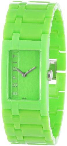 Esprit Houston - Reloj analógico de mujer de cuarzo con correa de plástico verde - sumergible a 30 metros