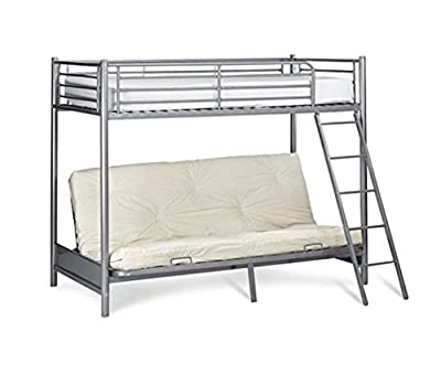 NEW Mika Children's Metal Bunk Bed with Futon (Frame Only) High Sleeper - Silver Bunkbed