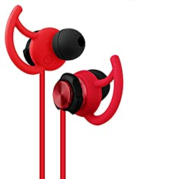 Gvoears gv2 Hot Red Stereo Earphone Sport Running Headphone with Microphone Noise Cancelling [ Running / Gym / Exercise/ Sweatproof ] for iphone 6, 6 Plus, 5 5c 5s 4 and Android (Red)