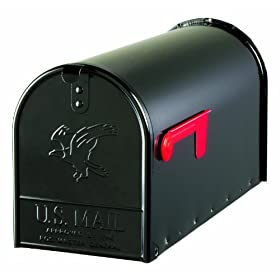 Solar Group E1600B00 Large Premium Steel Rural Mailbox, Black