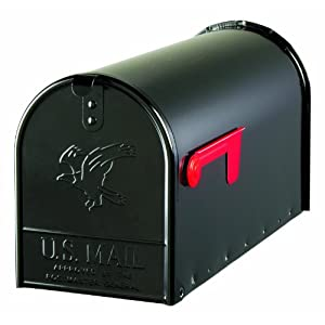 Solar Group E1600B00 Large Premium Steel Rural Mailbox, Black