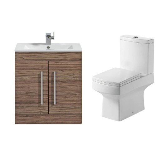 Modern Walnut 2 Piece Toilet & Basin Bathroom Furniture Suite