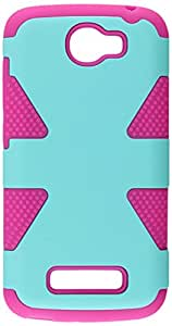 HR Wireless Dynamic Slim Hybrid Case for Alcatel One Touch Fierce 2 7040T - Retail Packaging - Teal/Hot Pink