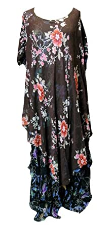 Stylish Multi-Color Layered Floral Summer Dress-Plus Size (3x4x)