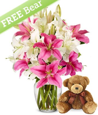 4th anniversary: Pink and White Lilies with Free Bear and Vase
