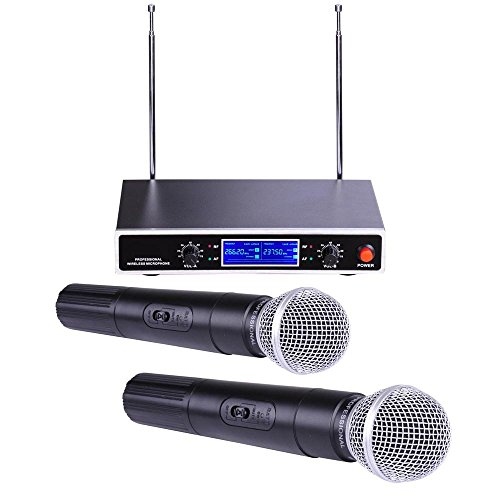 AW 2 Channel VHF Handheld Wireless Microphone System LCD Display 1/4