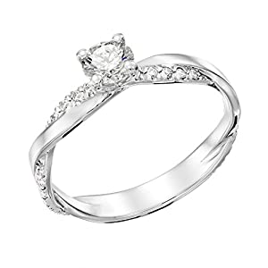 GIA Certified 14k white-gold Round Cut Diamond Engagement Ring (0.46 cttw, K Color, SI1 Clarity)