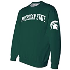 NCAA Michigan State Spartans Mens Green Embroidered Crew Sweatshirt by E5