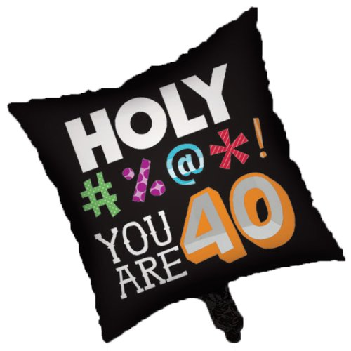 Creative Converting Holy Bleep 40th Birthday 2-Sided Square Mylar Balloon
