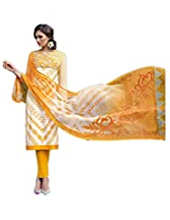 Yellow & Off White Colour Cotton Semi Party Wear Pant Style Multi Print Suit (Jinaam) 8388 - B015EDB5YW