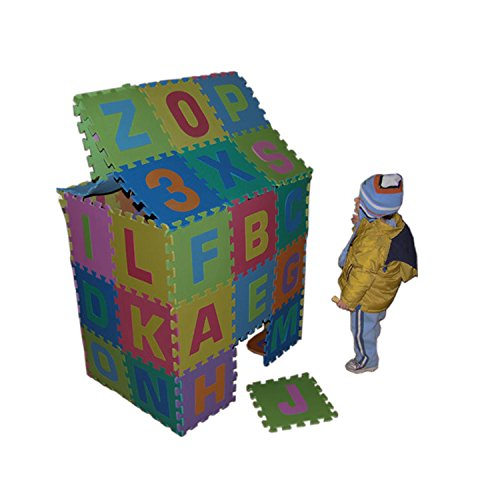Tappeto Puzzle 36 Tessere (86 pezzi) in Gomma Lettere e Numeri Gigante 180x180cm
