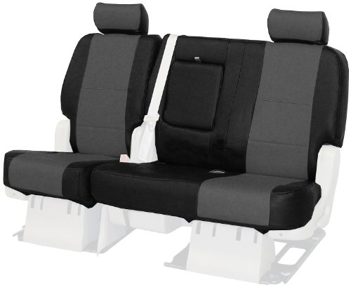 Coverking Custom-Fit Rear Bench Seat Cover - Leatherette, Black-Charcoal