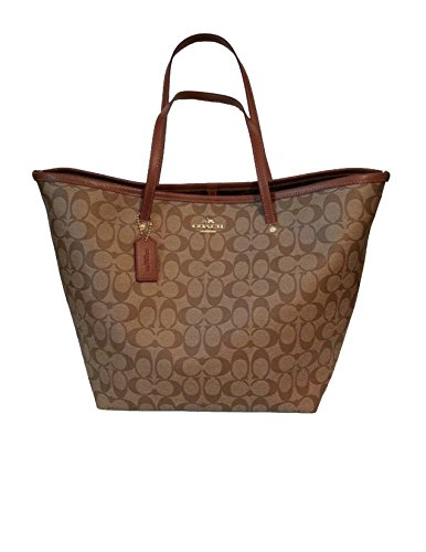 Coach Signature C Large Taxi Tote Khaki/Saddle F34105