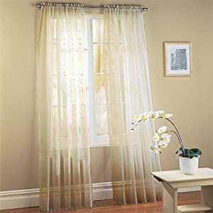 Sheer Ivory Voile Window Panel Coverings - Set of 2 Rod Pocket Window Treatments