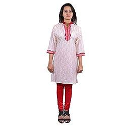 Lal Chhadi Women's cotton 3/4 sleeve Tree print Short Kurta
