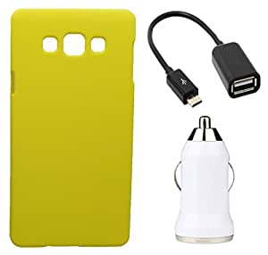 Toppings Hard Case Cover With OTG Cable & Car Charger For Samsung Galaxy J1 Ace - Yellow