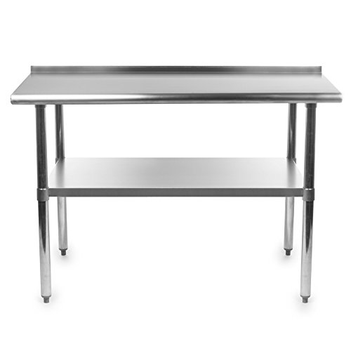 Gridmann stainless steel commercial kitchen prep work table with backsplash 48 x 24 inches - Commercial stainless steel kitchen island ...