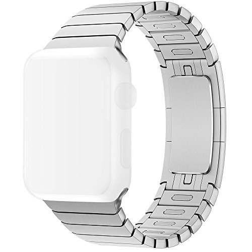 Apple Watch Band 42mm Silver, OULUOQI Link Bracelet with Custom Butterfly Closure, Add and Remove Links without Any Tool for Apple Watch Series 2 & Series 1 Sport & Edition 42mm