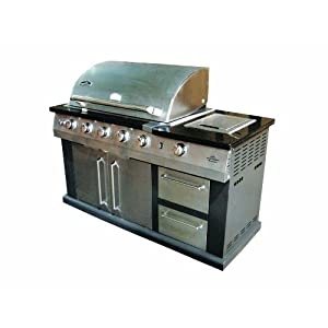 Landmann USA 42144 Great Outdoors Island Gas Grill with 7 Burners, 4 Stainless Steel Tubular Burners, 52000 Btu