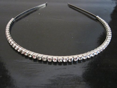 Women's Crystal 1 row Rhinestone Skinny Headband Thin Hair Band Bridal Prom Formal headband Hair Accessories