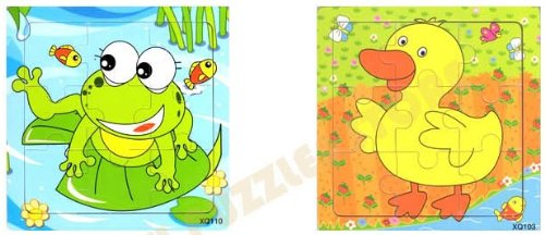 2pcs Wooden Cartoon Animal Jigsaw Puzzle Early Educational Toys Gifts (Frog + Duck?
