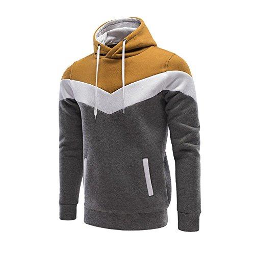 Lanbaosi Maglioni cappuccio Color Block felpate autunno degli uomini outwear