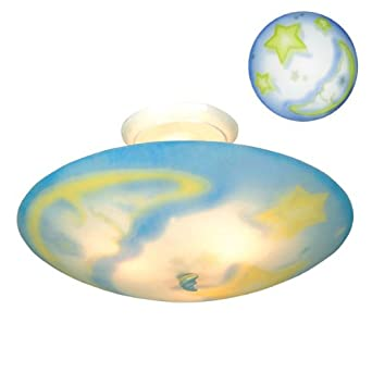 3 light star and moon 17 semi flushmount ceiling fixture - Star ceiling lights for kids ...