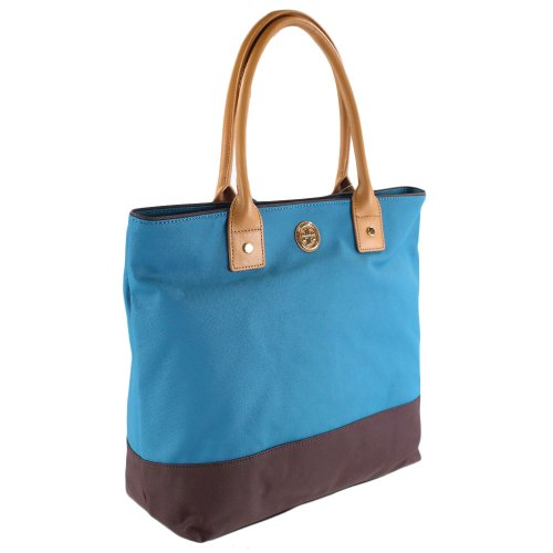 Tory Burch Tory Burch Womens Large Jaden Tote, Electric Eel/Coconut, One Size
