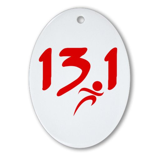 CafePress - Red 13.1 half-marathon Ornament (Oval) - Oval Holiday Christmas Ornament