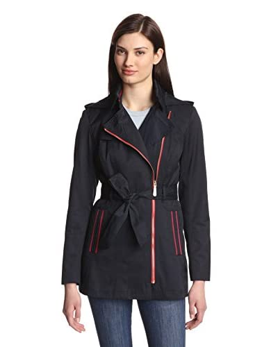 Vince Camuto Women's Asymmetrical Zip Belted Trench