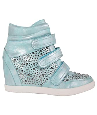 Womens Diamante High Heel Wedge Hi Top Fashion Trainers Ankle Boots Shoes (Aqua,4)