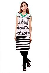 Kurti Studio Festive White Unstitched Cotton Kurti Dress Material