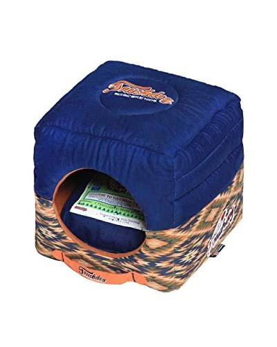 Touchdog Tribal Throwback Convertible/Reversible Squared 2-in-1 Collapsible Dog House Bed, Midnight ...