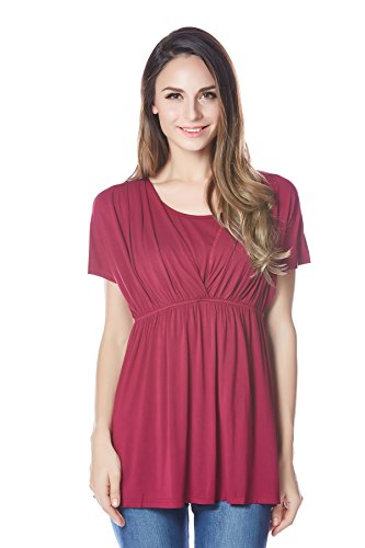 Bearsland Women's Breastfeeding and Nursing Summer Top PurpleRed Size M