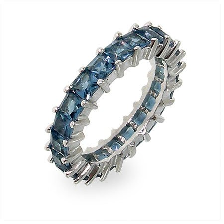 Sparkling Sapphire Princess Cut Eternity Band Size 6 (Sizes 5 6 7 9 Available)