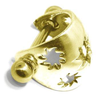 SOLID 14K Yellow Gold SUN BURST Ear Cuff - Cartilage