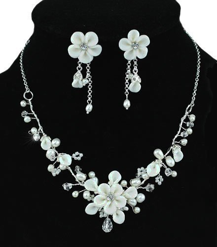Handmade Crystal and Floral Ceramics Bridal Sparkly Necklace Earrings Jewellery Set with PreciousBags Dust Bag