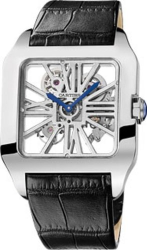 Cartier Santos-Dumont Skeleton Dial 18 kt White Gold Mens Watch W2020033