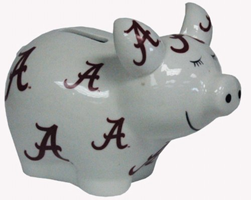 NCAA Alabama Crimson Tide Piggy Bank with All Over Logo