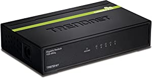 TRENDnet TEG-S50g 5-Port Unmanaged GigaBit GREENnet Switch 5 x 10/100/1000 Mbps Auto-Negotiation, Auto-MDIX GigaBit Ethernet Ports (Black Metal)