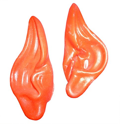 Rubies Pair Of Red Vinyl Elf Ears - Christmas Plays, Fancy Dress, Dress Up (hw94)