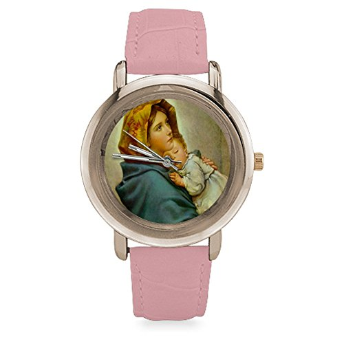 """Christmas Gifts Christian Religious Virgin Mary Women's Rose Gold Leather Strap Stainless Water-resisting Watch,Watch Face Diameter: 1.4"""""""