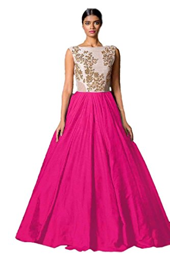 Ladies4Zone Designer Womens Fancy western wear and party wear Cotton Silk Pink Embroidered Bollywood Style lengha (KK2066_FreeSize_Pink)